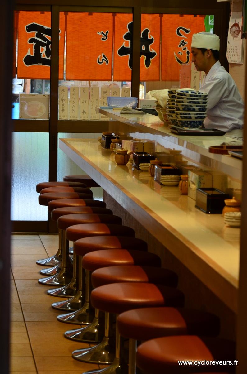 La magasin de sushi s'apprête à ouvrir ses portes, tout parait calme, mais parce qu'on est passé par derrière ! Devant, une queue de 10 mètres est peut-être déjà impatiente !