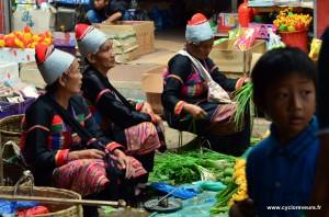 A Mengla, tout au sud de la province, les trois petites dames nous ont vendu de bien bonnes courgettes !