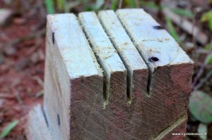 Jante Mavic fendue sur la bande de freinage : usinage d'un étau en bois au Leatherman