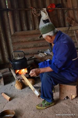 Le papi entretient le feu et les chatons en profitent !