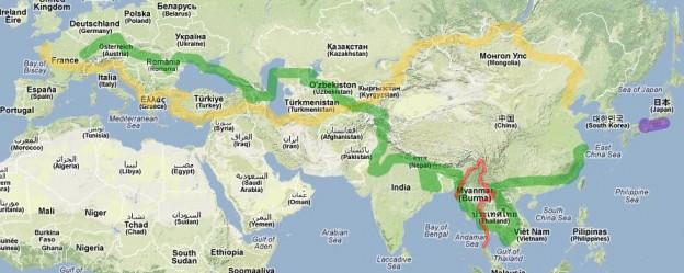 Carte globale du projet d'itinéraire des cyclorêveurs