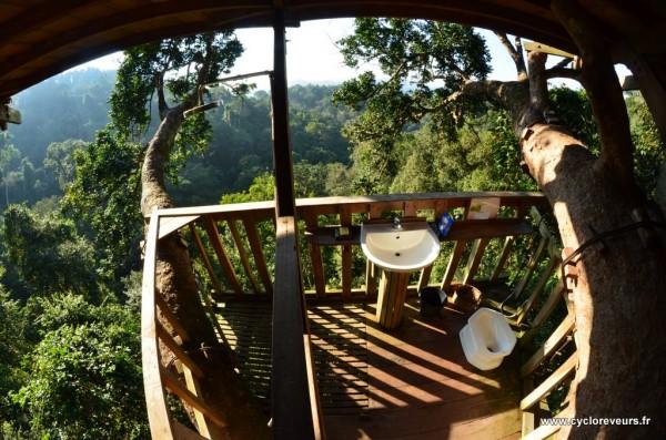 Salle de bain aérienne - Gibbon experience - Huay Xay - Bokeo - Laos