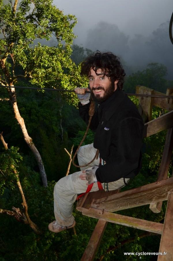 Départ de tyrolienne - Gibbon experience - Huay Xay - Bokeo - Laos