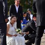 La mariée au temple d'Oulan Bator