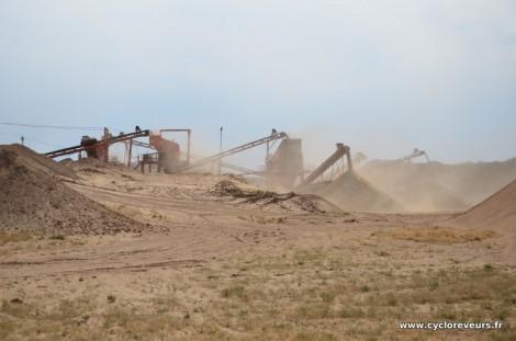 Carrière de sable dans le Gobi
