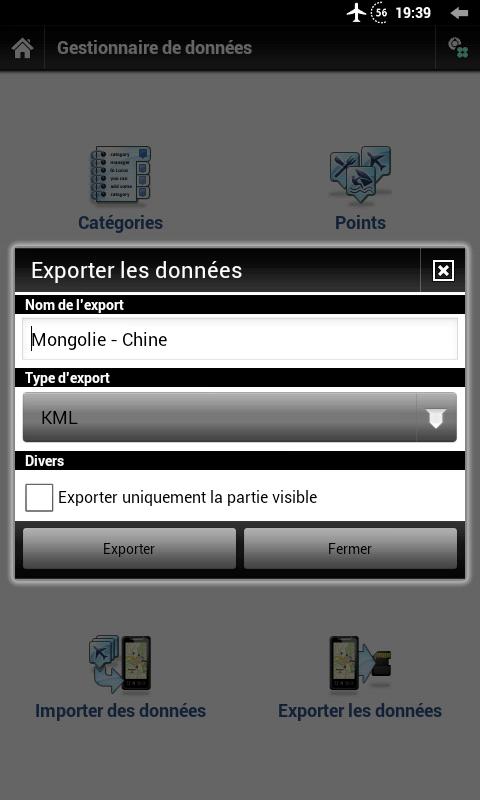 Export des points d'intérêts vers google maps par exemple
