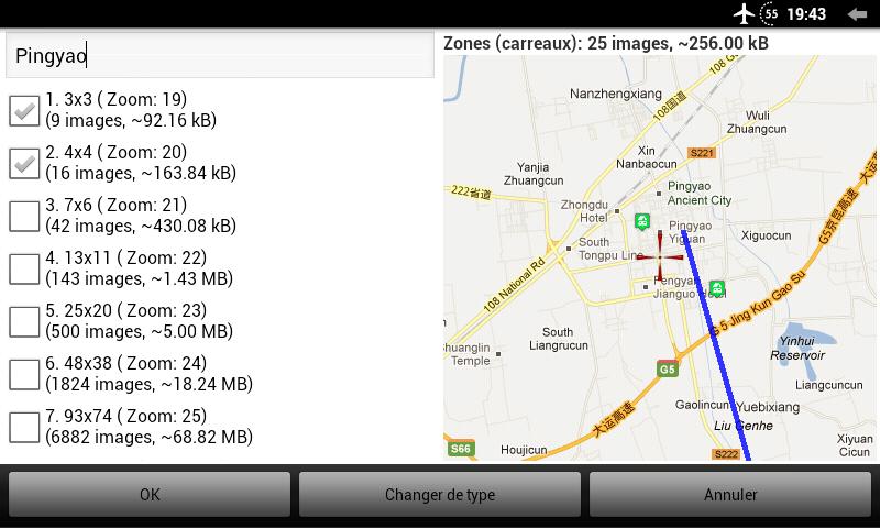 Sélection des niveaux de zoom à télécharger pour la zone sélectionnée