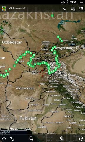 Zoom sur l'Asie Centrale (carte Earth avec noms)