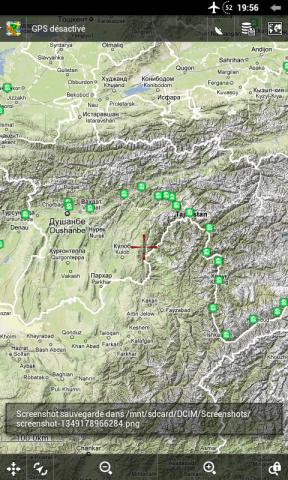 Zoom sur le Tadjikistan (carte Google Terrain)